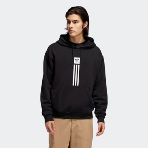 Mens Originals Solid Pillar Hoodie [아디다스 후드 and 맨투맨] Black/White (EC7322)