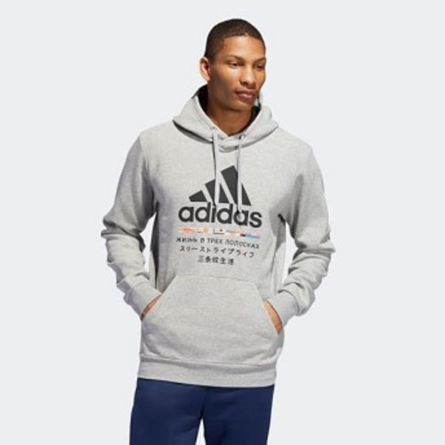 Mens Athletics Global Citizens Hoodie [아디다스 후드 and 맨투맨] Medium Grey Heather (ED8280)