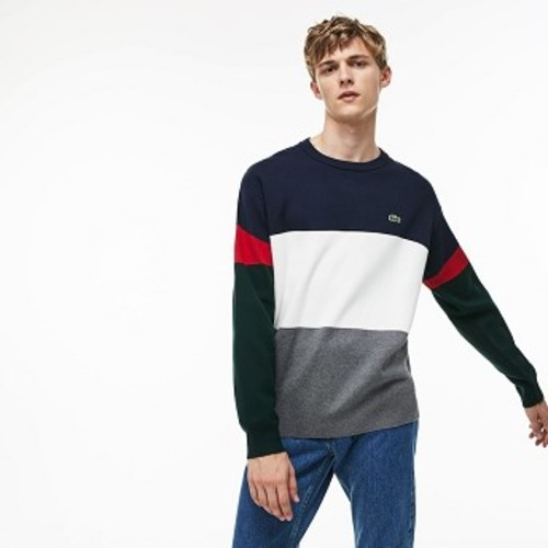 Mens Crew Neck Colorblock Flat Ribbed Cotton Sweater [라코스테 스웨터] Grey/White/Blue/Red/Green-ATB (Selected colour) (AH9173-51)