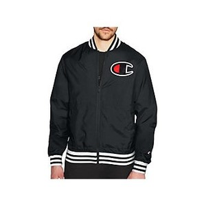 [해외] Champion Life and reg; Mens Satin Baseball Jacket Black (V1941)