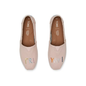 [해외] TOMS Rose Gold Embroidered FRIYAY Womens Classics [탐스슬립온,탐스슈즈] (889556536429)