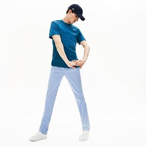 [해외] Mens Slim Fit Stretch Cotton Pants [라코스테 바지] Light Blue (HH5442-51)