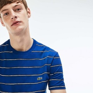 [해외] Mens Striped Print Mini Pique T-Shirt [라코스테 반팔,폴로티] Blue/Blue/White (TH3916-51)