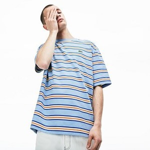 [해외] Mens LIVE Crew Neck Cotton T-shirt [라코스테 반팔,폴로티] Light Blue/White (TH3783-51)