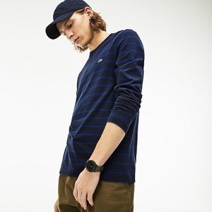 [해외] Mens Crew Neck Striped Jersey T-shirt [라코스테 반팔,폴로티] Blue/Navy Blue (TH9416-51)