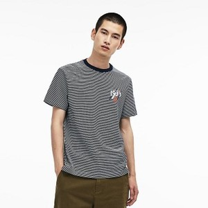 [해외] Mens Crew Neck 1933 Lettering Striped Cotton Jersey T-shirt [라코스테 반팔,폴로티] Navy Blue/White (TH9371-51)