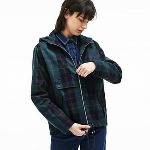 Womens Tartan Check Print Cotton Canvas Zippered Pea Coat [라코스테 자켓] (BF2344-51)