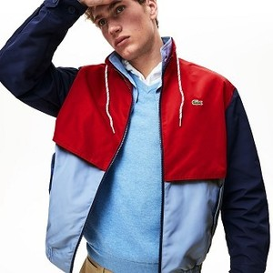 Mens Water-Resistant Full-Zip Jacket [라코스테 자켓] Light Blue/Red/Navy Blue-7DE (Selected colour) (BH3344-51)