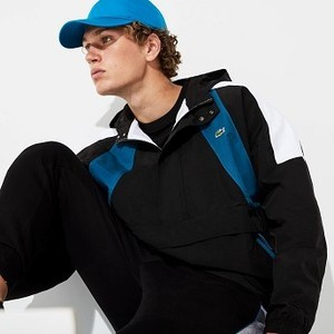 Mens SPORT Pullover Windbreaker [라코스테 자켓] Black/Blue/White-3SP (Selected colour) (BH8845-51)