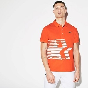 Mens Olympic Heritage Collection By Lacoste Petit Pique Polo [라코스테 반팔,폴로티] Orange/White-2RZ (Selected colour) (PH4170-51)