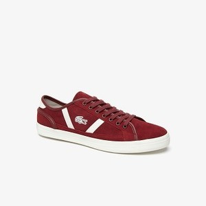 Mens Sideline Suede Sneakers [라코스테 운동화] DK RED/OFF WHT-2P8 (Selected colour) (38CMA0052)