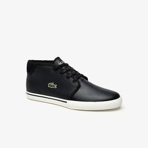 Mens Ampthill Paneled Leather Chukkas [라코스테 운동화] BLACK/OFFWHITE-454 (Selected colour) (38CMA0027)