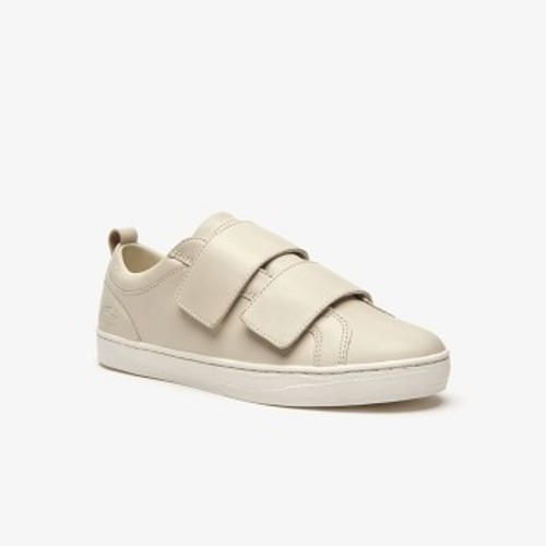 Womens Straightset Strap Leather Sneakers [라코스테 운동화] OFF WHITE/OFF WHITE-18C (Selected colour) (38CFA0006)