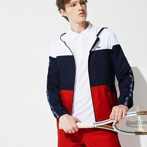 Mens SPORT Colorblock Tennis Jacket [라코스테 자켓] White/Navy Blue/Red-A10 (Selected colour) (BH6962-51)