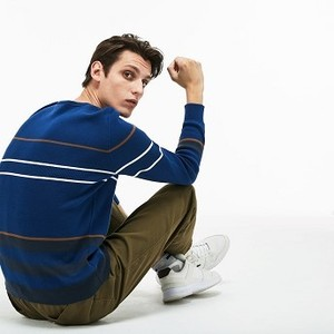 Mens Crew Neck Multicolor Striped Milano Cotton Sweater [라코스테 스웨터] Navy Blue/Blue/Brown/White-C4G (Selected colour) (AH9202-51)