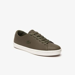 Womens Showcourt 2.0 Leather Sneakers [라코스테 운동화] DARK KHAKI/OFF WHITE-AAR (Selected colour) (38CFA0041)