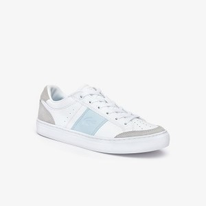 Women's Courtline Sneakers [라코스테 운동화] WHITE/LIGHT BLUE-1T3 (Selected colour) (38CFA0050)